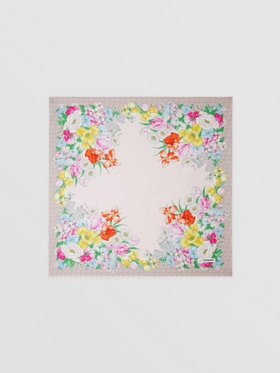 花朵及花押字印花絲綢方巾 (淡粉紅色)