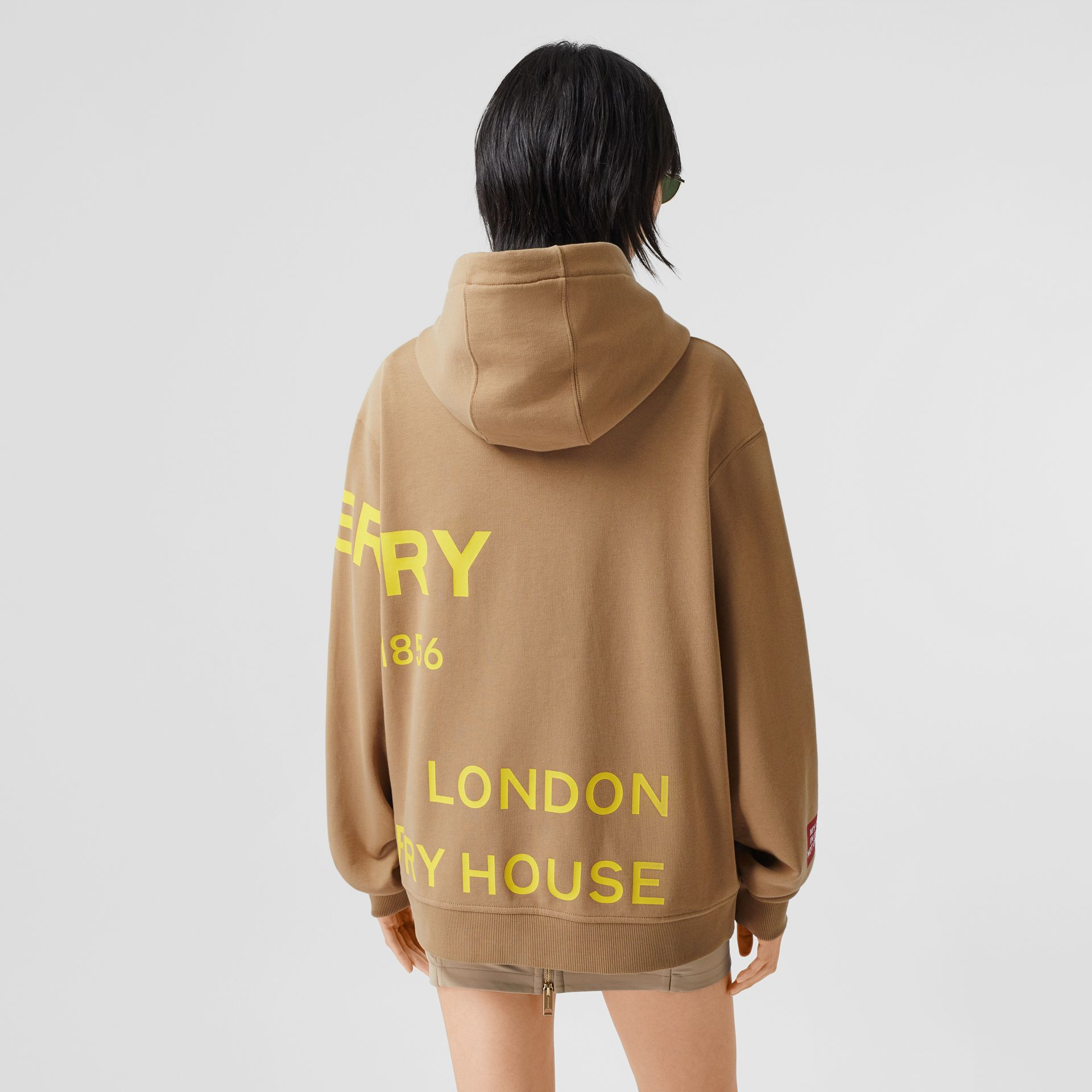 Horseferry Print Cotton Oversized Hoodie in Archive Beige | Burberry United Kingdom - gallery image 2