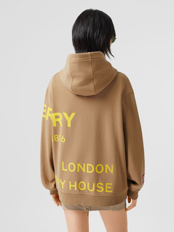 Horseferry Print Cotton Oversized Hoodie in Archive Beige | Burberry United Kingdom - cell image 2