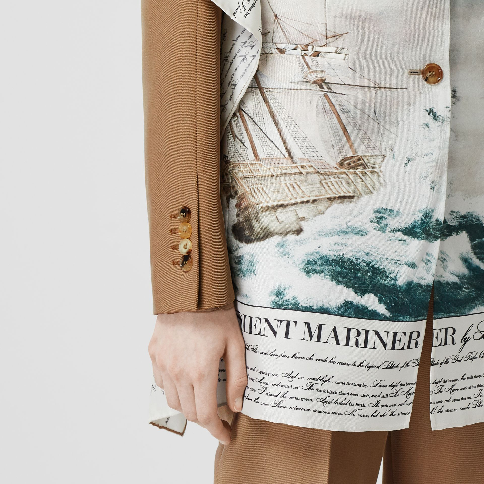 Mariner Print Scarf Detail Wool Blend Tailored Jacket in Camel - Women | Burberry - gallery image 3