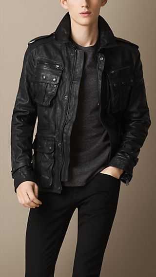 Washed Leather Field Jacket