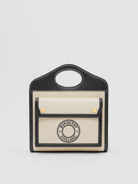 Mini Logo Graphic Canvas and Leather Pocket Bag in Natural/black