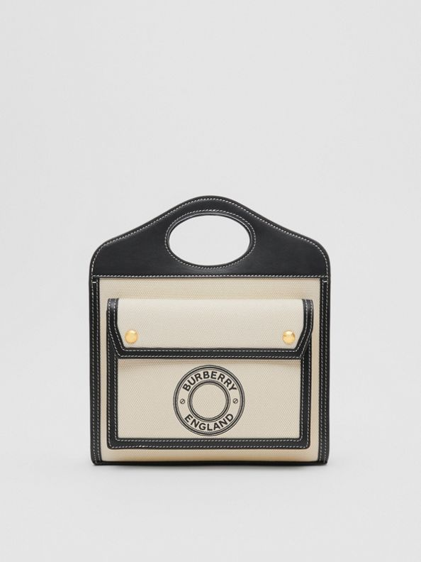 Mini Logo Graphic Canvas and Leather Pocket Bag in Black