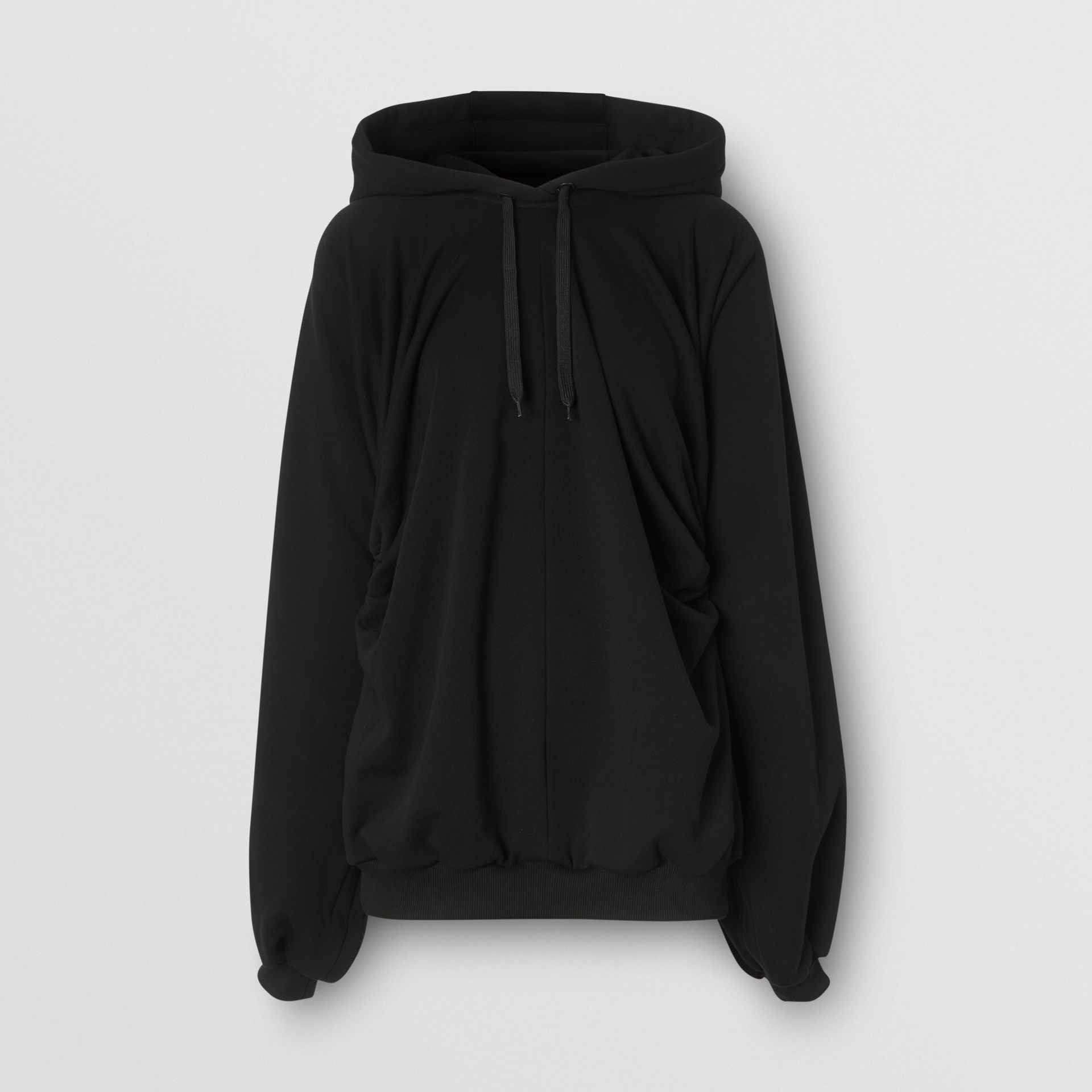 Location Print Gathered Cotton Oversized Hoodie in Black | Burberry United Kingdom - gallery image 3
