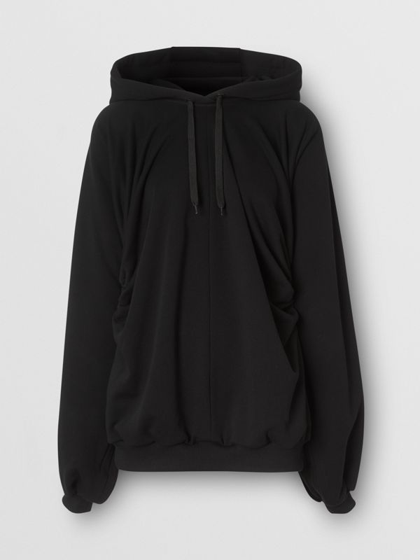 Location Print Gathered Cotton Oversized Hoodie in Black | Burberry United Kingdom - cell image 3