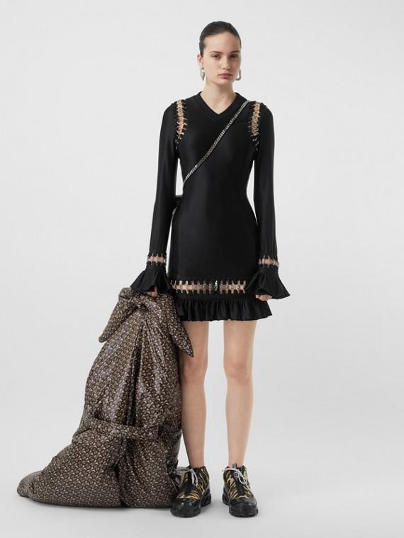 Ring-pierced Stretch Jersey Mini Dress in Black