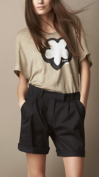 Flower Graphic Linen T-Shirt