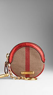 Metallic Leather Canvas Check Coin Case
