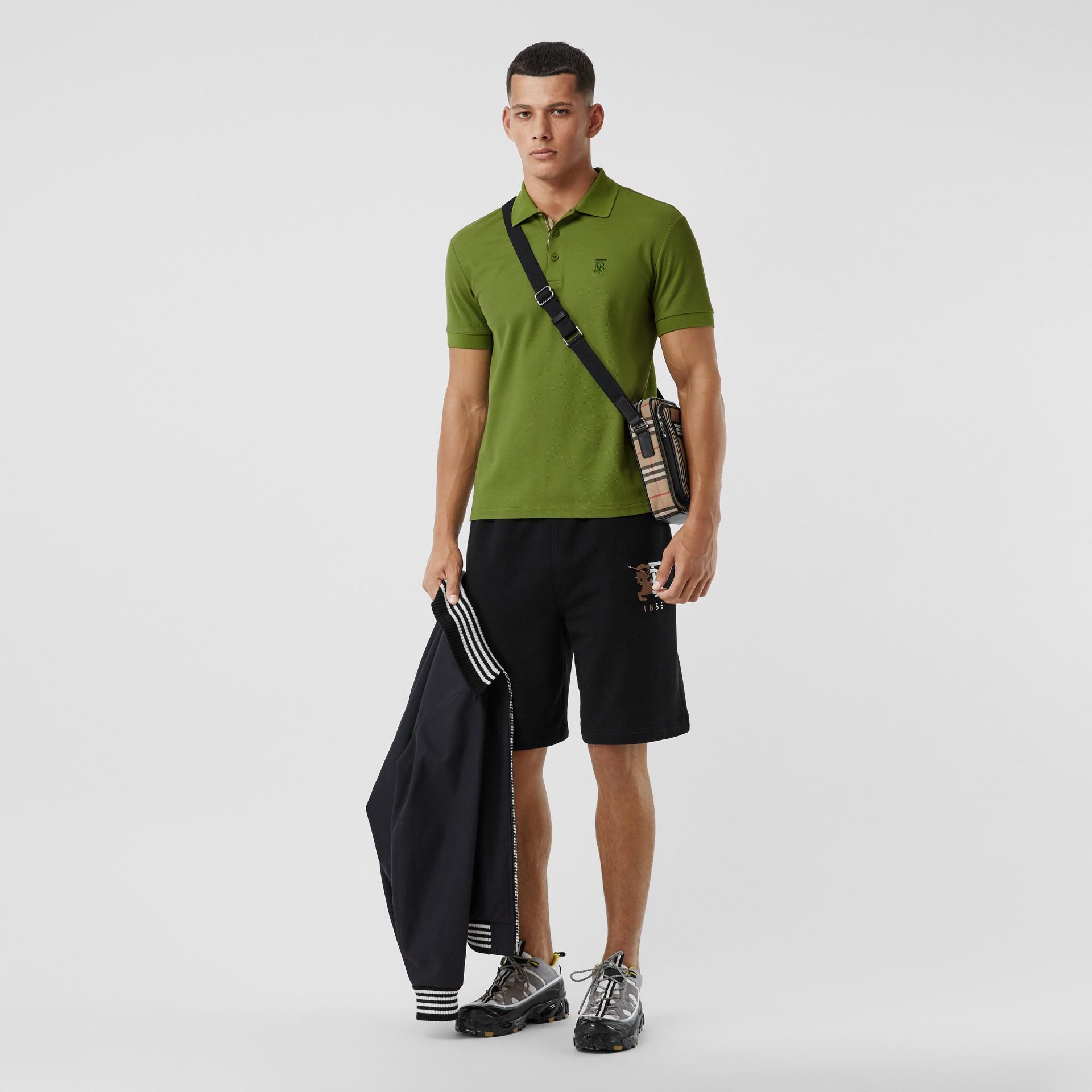 Monogram Motif Cotton Piqué Polo Shirt in Cedar Green - Men   Burberry - gallery image 0