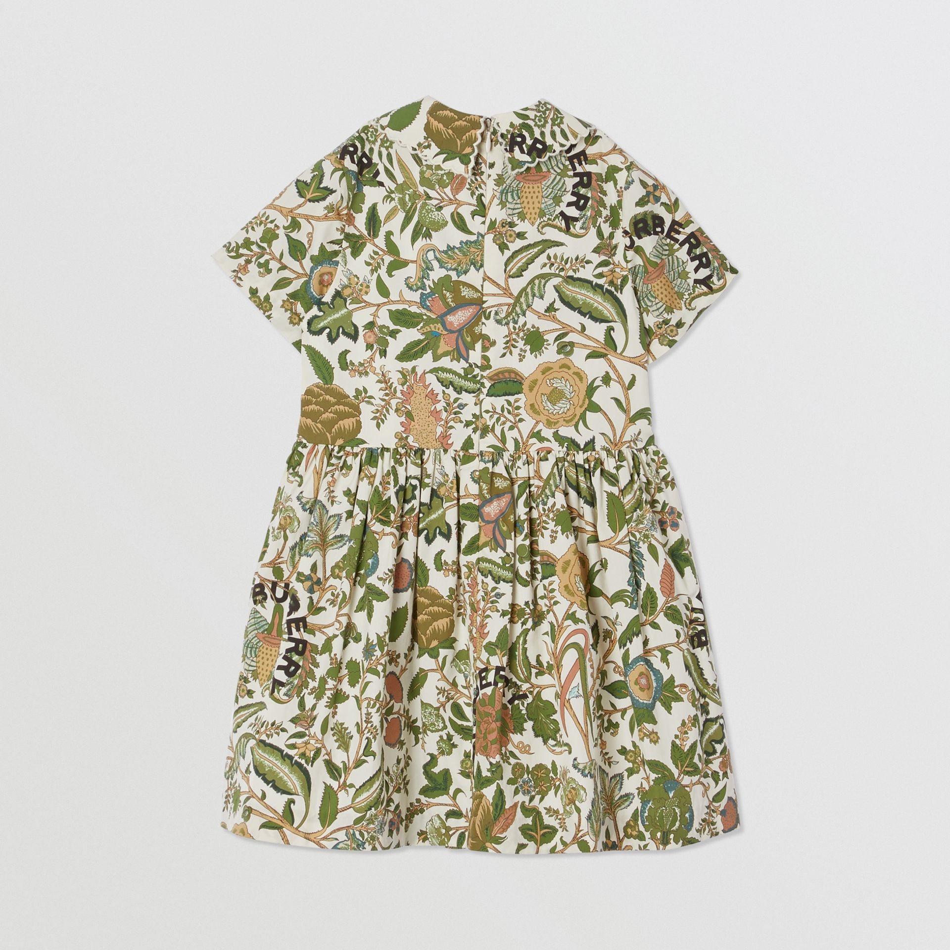 Botanical Print Cotton Dress in Olive | Burberry Hong Kong S.A.R - gallery image 3