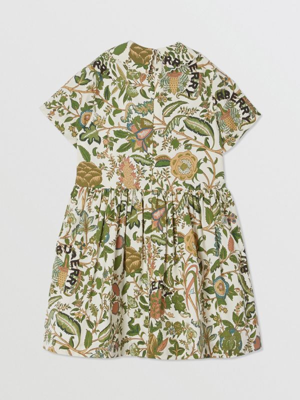 Botanical Print Cotton Dress in Olive | Burberry Hong Kong S.A.R - cell image 3