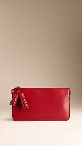 Patent London Leather Tassel Clutch Bag