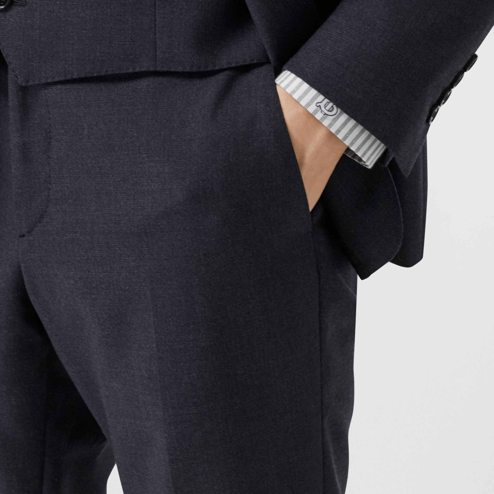 Classic Fit Wool Three-piece Suit in Navy - Men | Burberry - gallery image 8