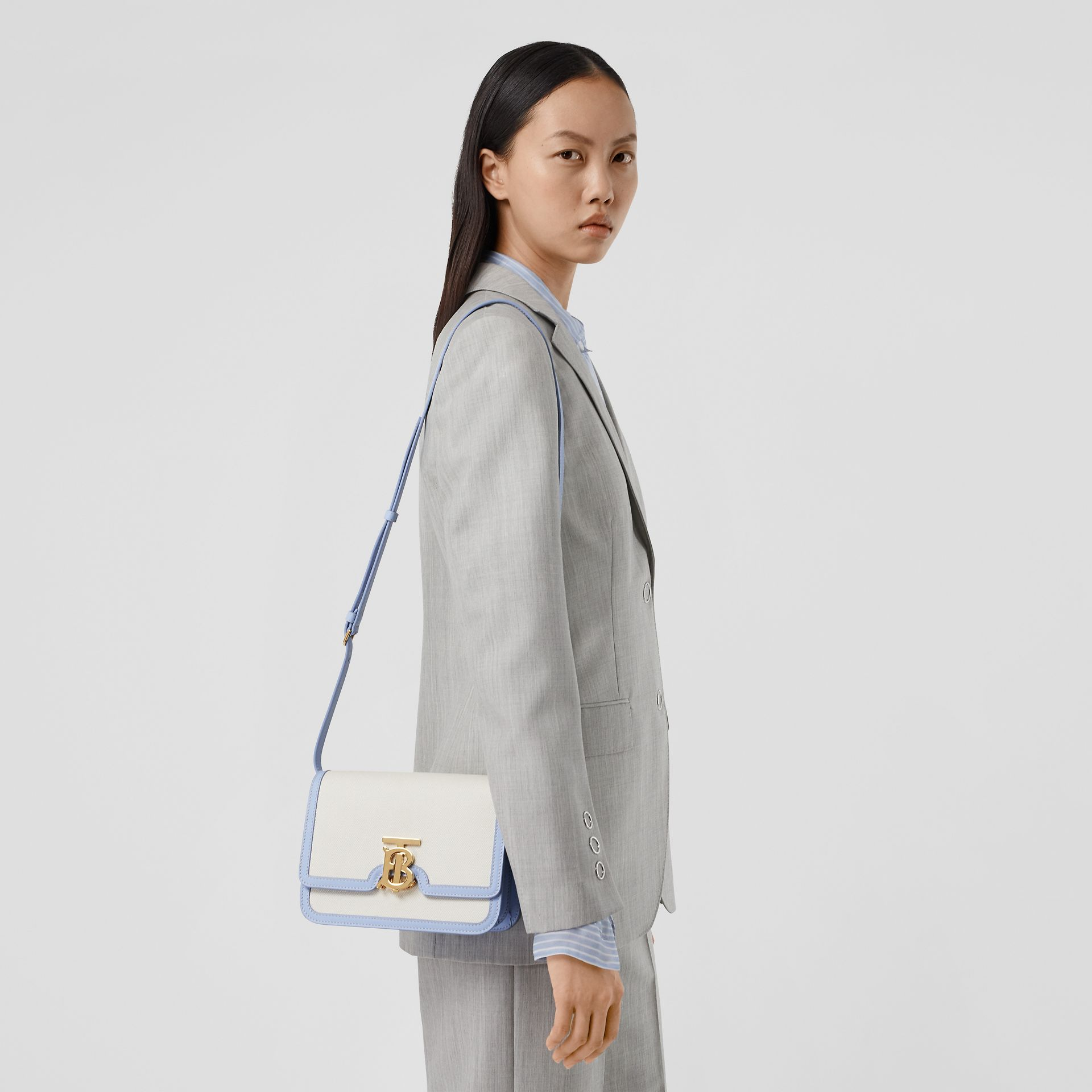 Small Two-tone Canvas and Leather TB Bag in Natural/pale Blue | Burberry United States - gallery image 8