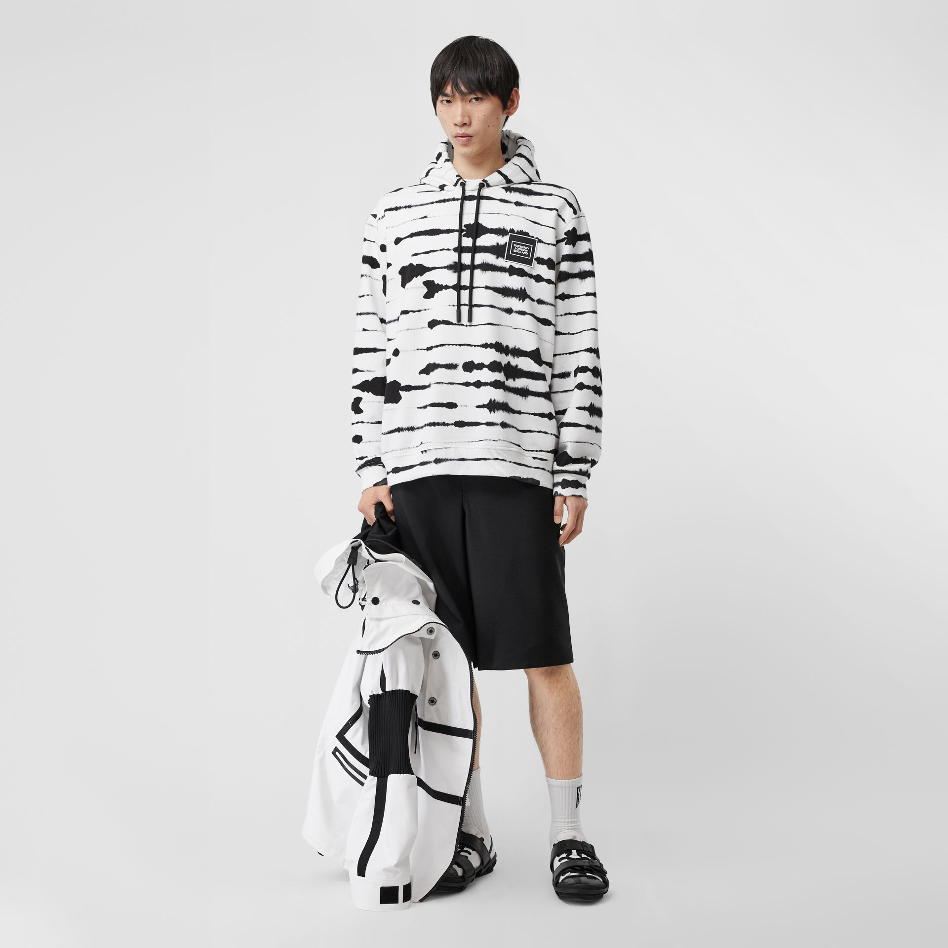 Logo Appliqué Watercolour Print Cotton Hoodie in Monochrome | Burberry United States - gallery image 5