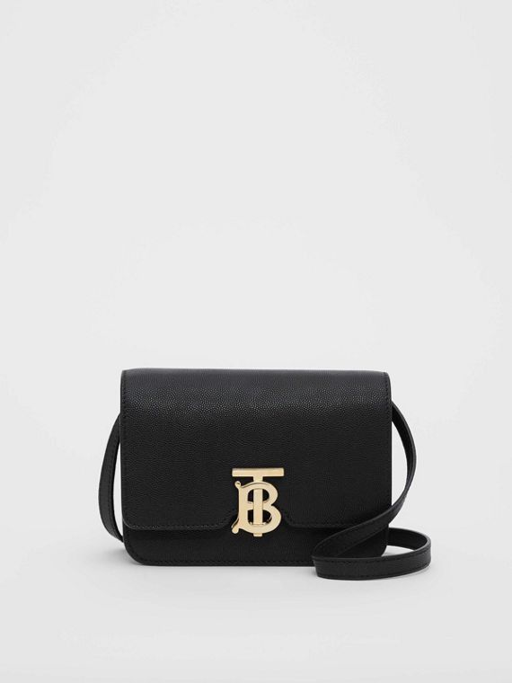 Borsa TB mini in pelle a grana (Nero)