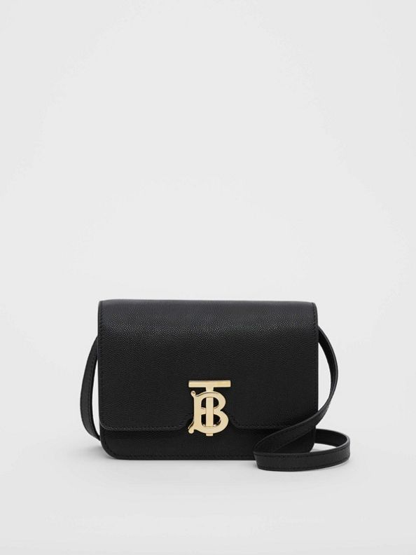 Mini Grainy Leather TB Bag in Black