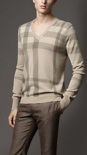 Printed Check Wool Sweater