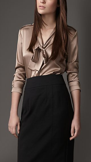 Bow Neck Stretch Silk Shirt