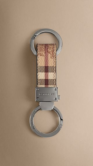 Haymarket Check Leather Key Ring