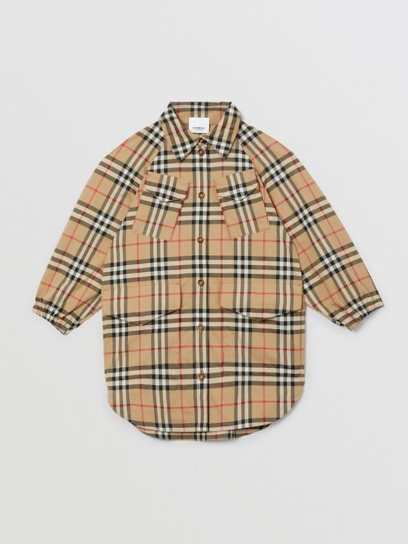 Vintage Check Cotton Shirt Dress in Archive Beige