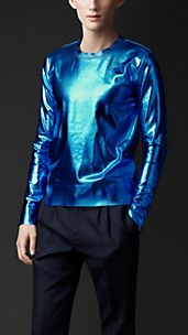 Metallic Silk Crew Neck Sweater