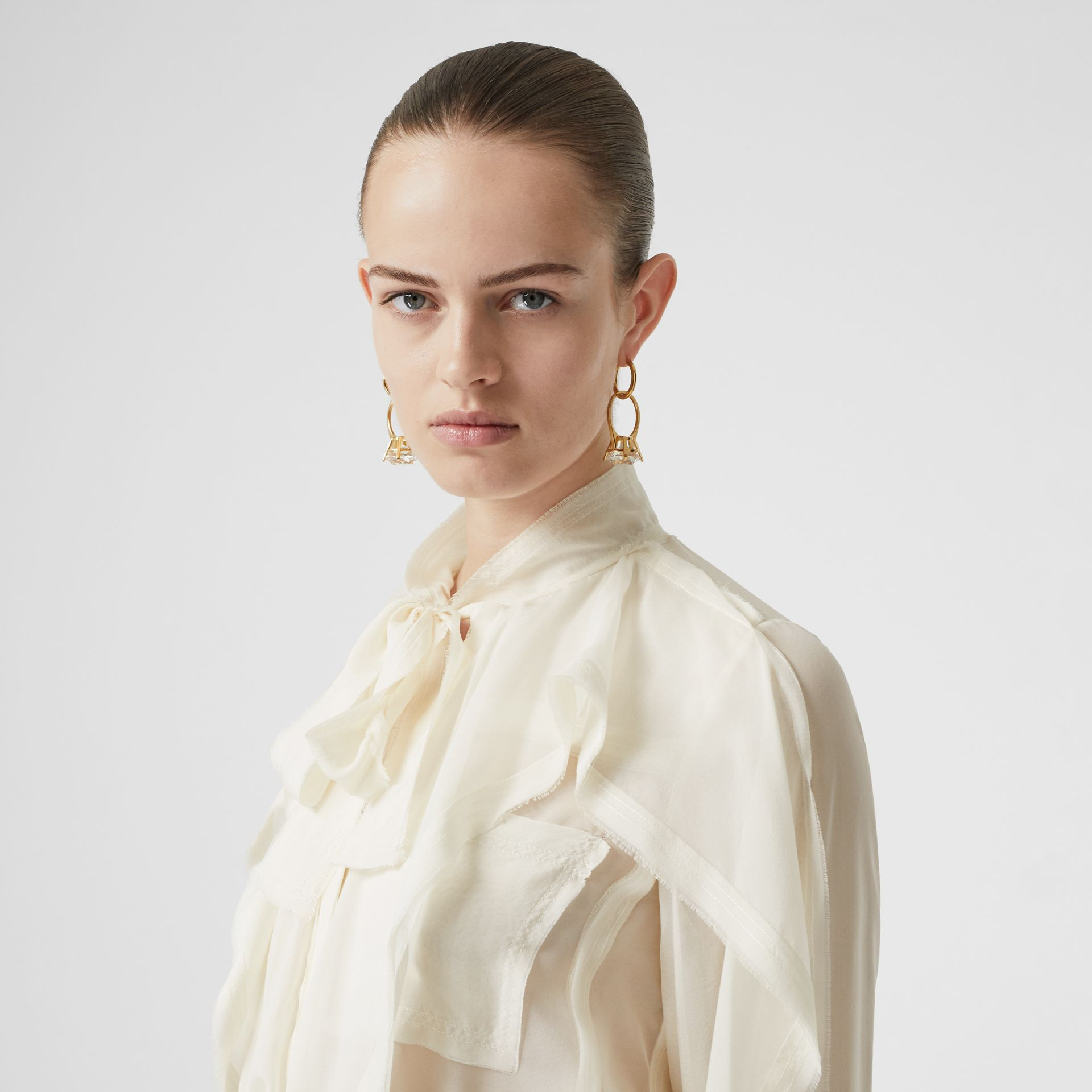 Ruffled Silk Chiffon Pussy-bow Blouse in Ivory - Women | Burberry - gallery image 1