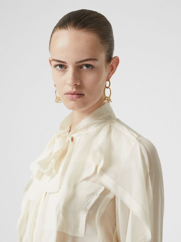 Ruffled Silk Chiffon Pussy-bow Blouse in Ivory - Women | Burberry - cell image 1