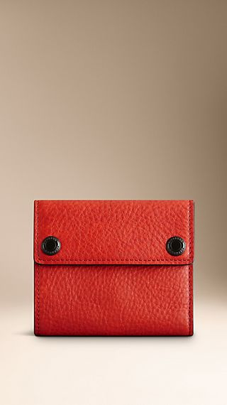 Press-Stud Leather Folding Wallet