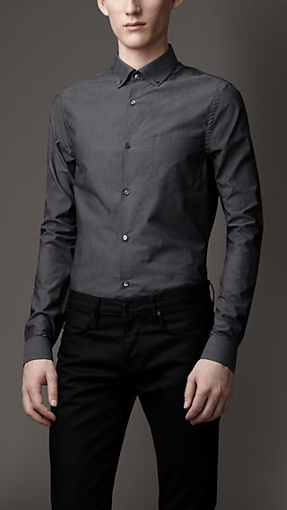 Slim Fit Herringbone Check Cotton Shirt