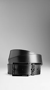 Check Engraved Buckle Leather Belt