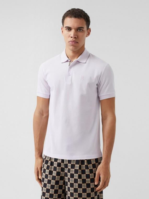 Monogram Motif Cotton Piqué Polo Shirt in Pale Thistle