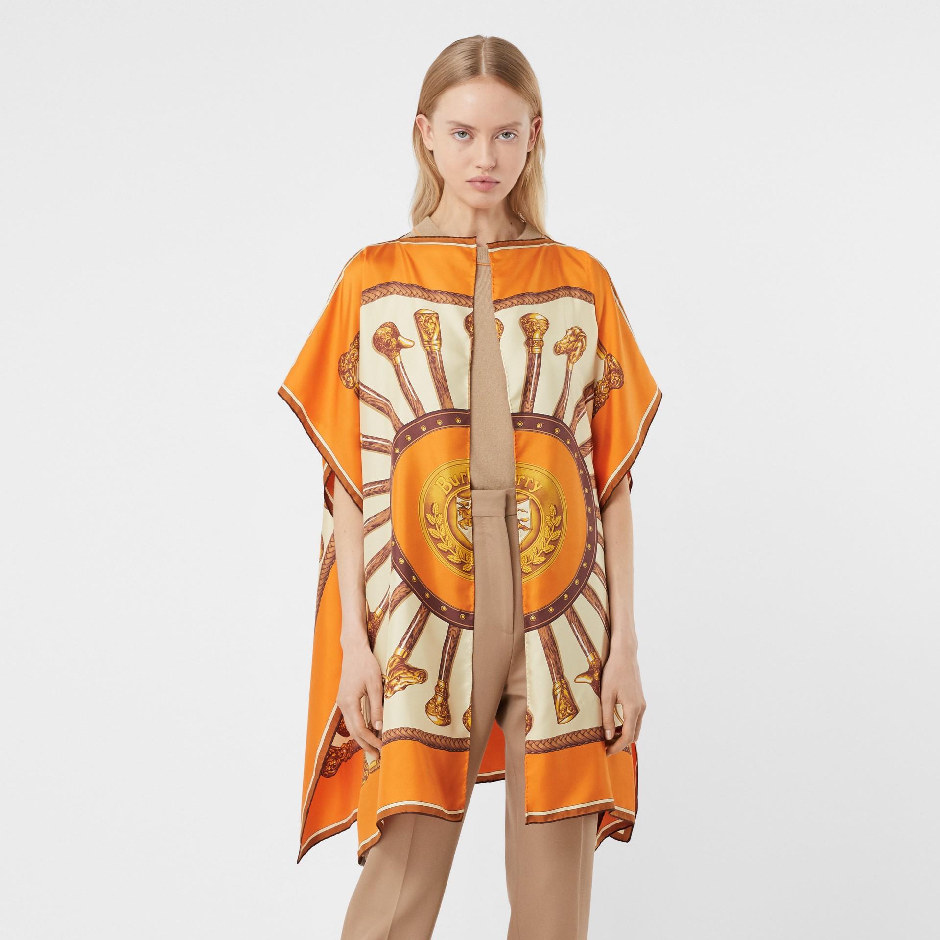 Archive Scarf Print Silk Twill Cape in Bright Orange - Women | Burberry - gallery image 4