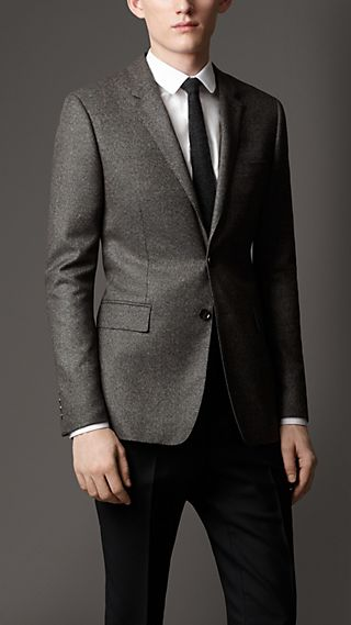 Slim Fit Wool Cashmere Sharkskin Jacket