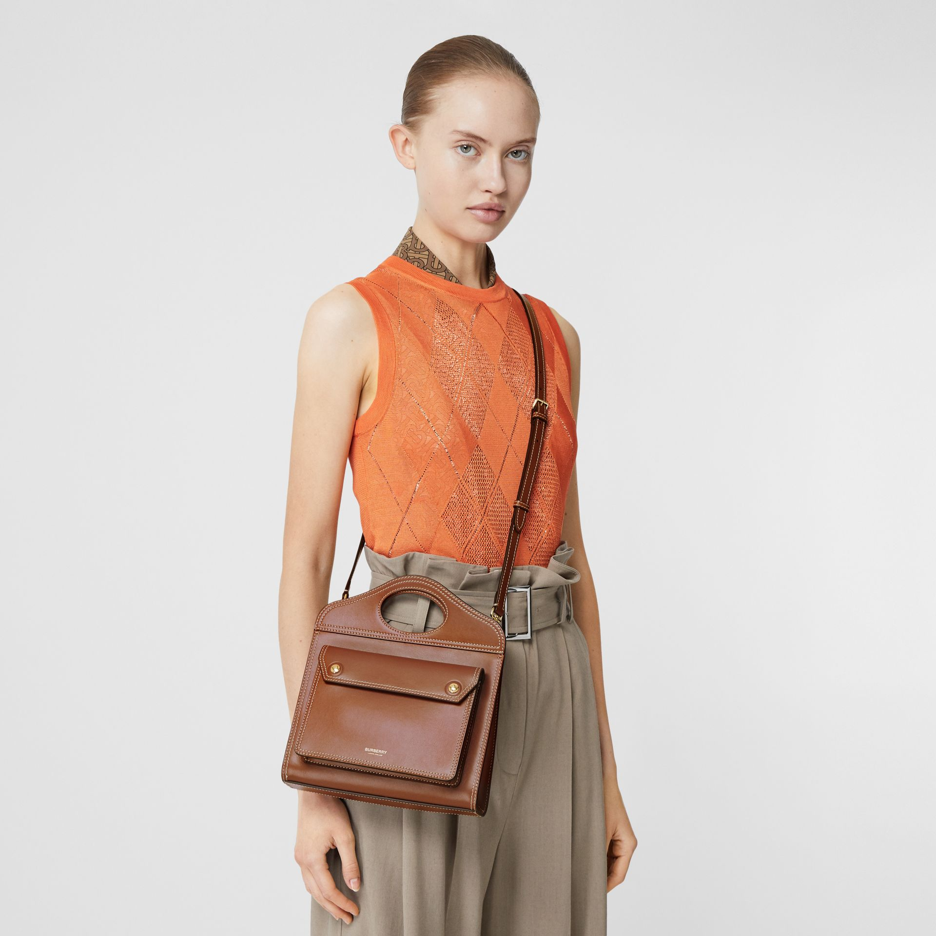 Mini Topstitched Leather Pocket Bag in Malt Brown - Women | Burberry - gallery image 7