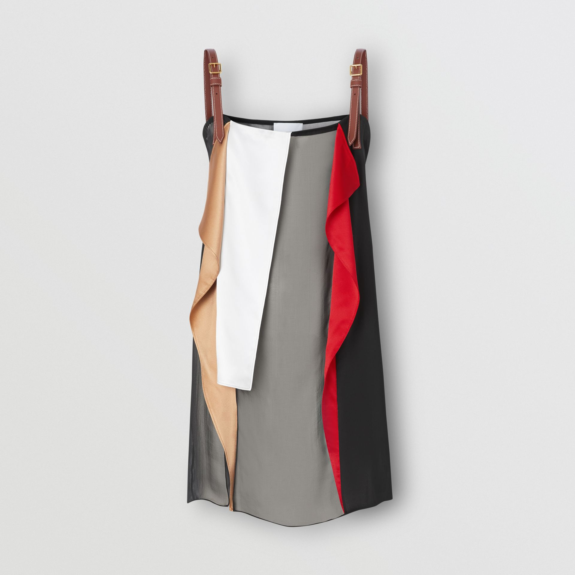 Leather Detail Colour Block Silk Top in Black - Women | Burberry - gallery image 3