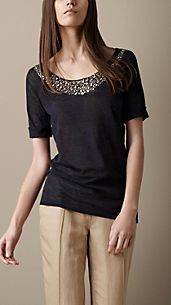 Embellished Cotton Blend T-Shirt