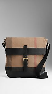 Coated Canvas Check Crossbody Bag