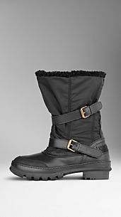 Shearling-Lined Snow Boots