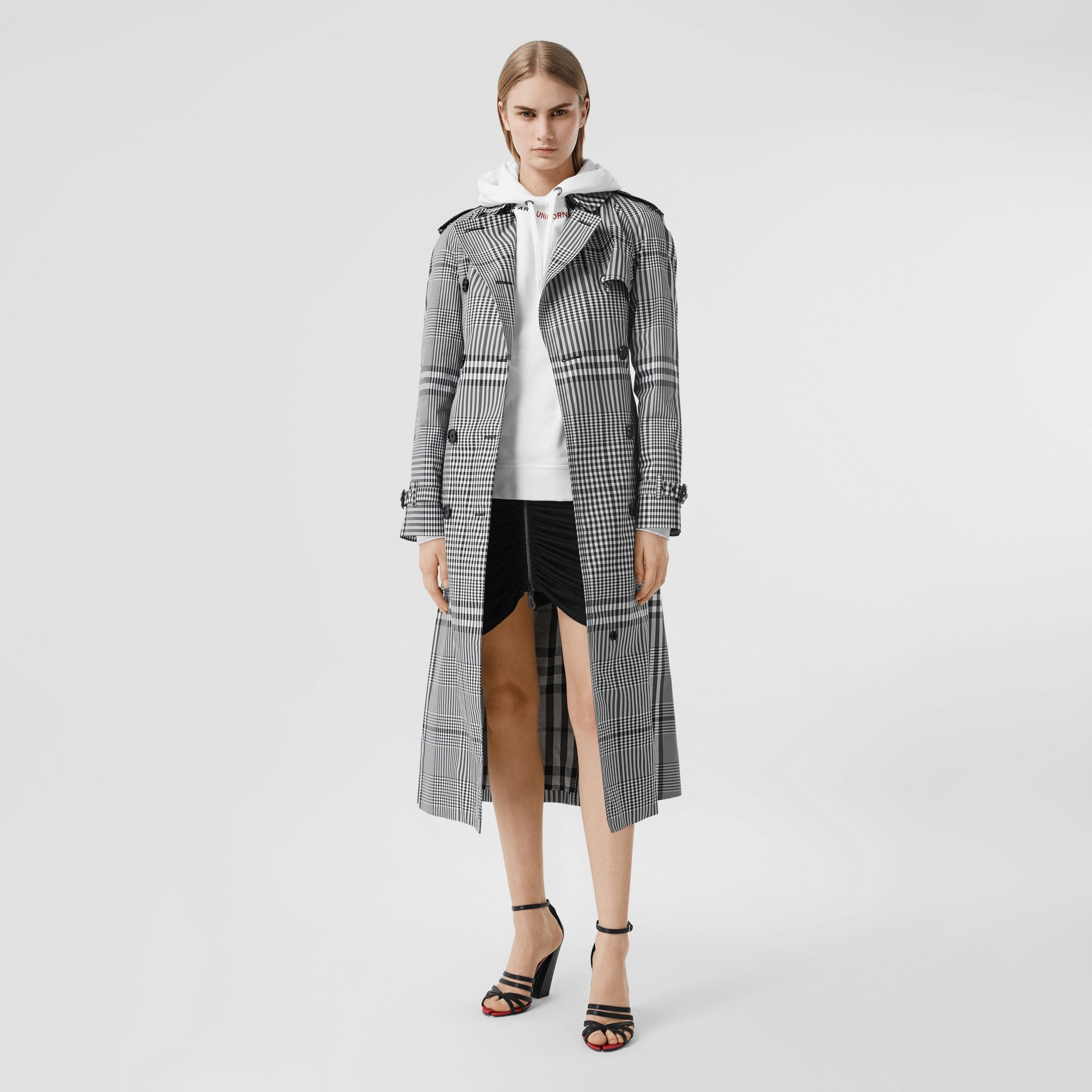 Check Twill Trench Coat in Black/white - Women | Burberry United States - gallery image 0