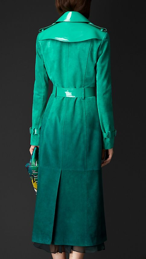 Bright peacock green Dégradé Suede Trench Coat with Patent Trim - Image 2