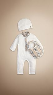 Baby Check Collar Playsuit Gift Set