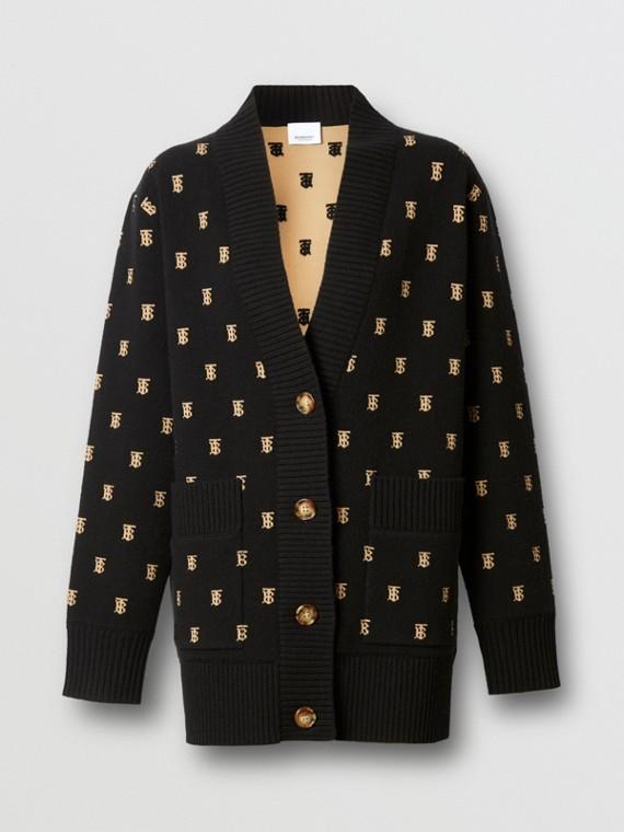 Cardigan oversize in misto lana e cashmere con motivo monogramma (Nero)