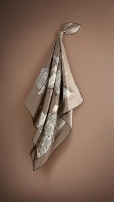巴黎手绘景观丝质方巾
