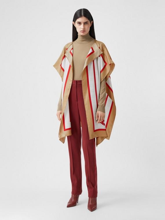 典藏圍巾印花斜紋絲綢披肩 (蜜金色)