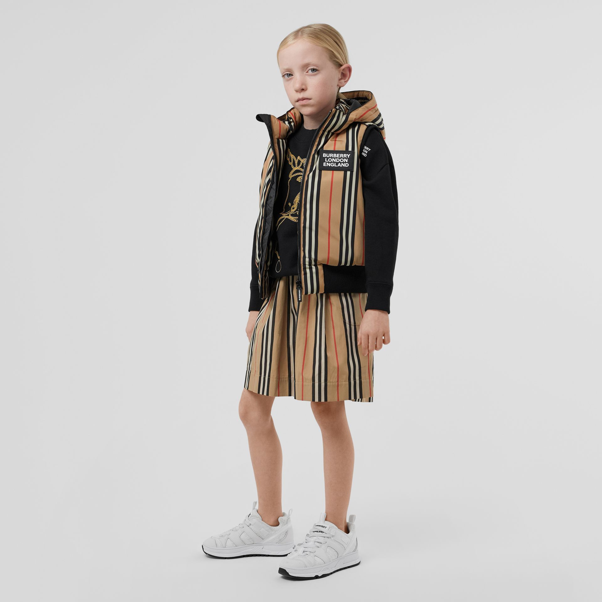 Detachable Hood Icon Stripe Puffer Gilet in Archive Beige   Burberry - gallery image 2