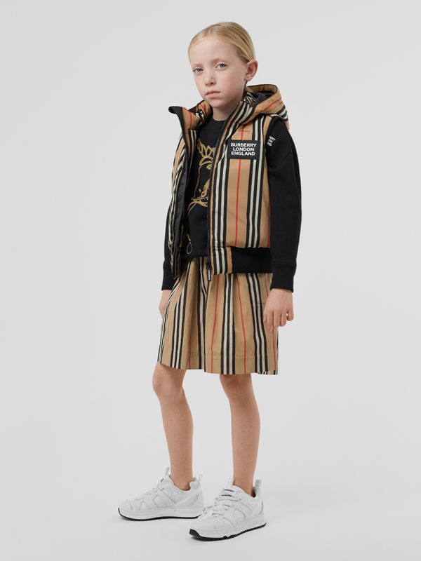 Detachable Hood Icon Stripe Puffer Gilet in Archive Beige   Burberry - cell image 2