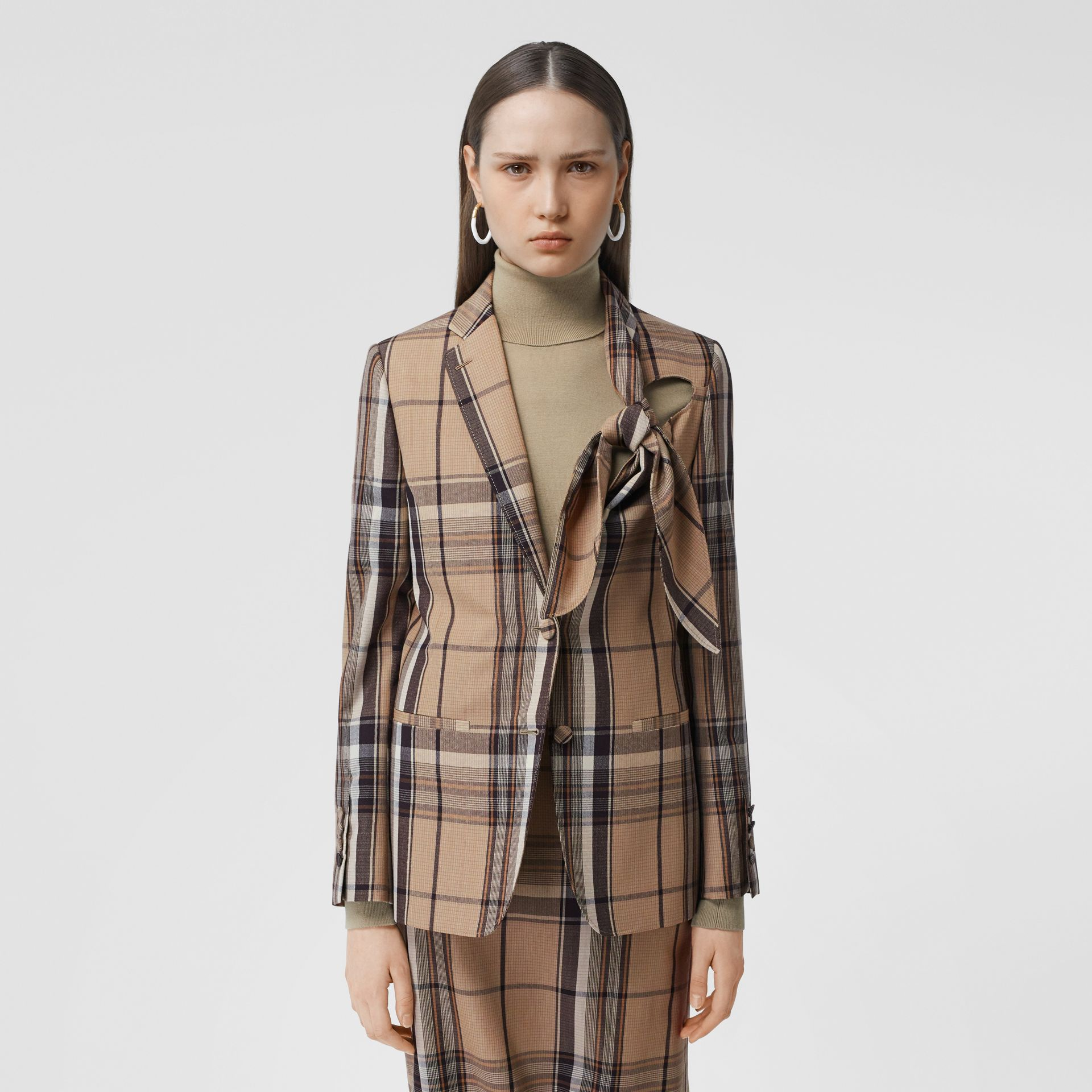 Knot Detail Check Wool Tailored Jacket - Women   Burberry United Kingdom - gallery image 4
