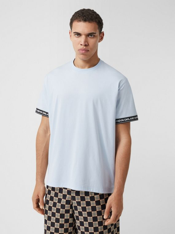 Logo Tape Cotton Oversized T-shirt in Pale Blue