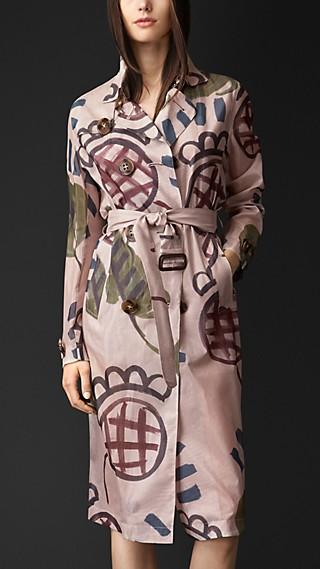 Flower Motif Organdy Trench Coat